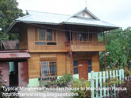 typical Minahasan wooden house that has been constructed in Papua far