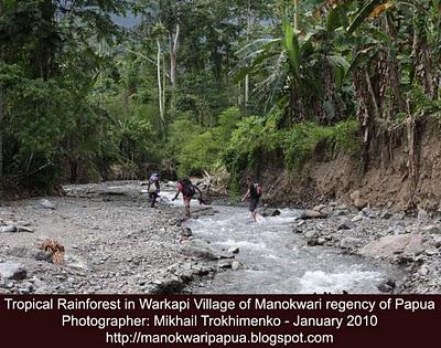 Wisatawan Russia menjelajahi sungai Warkapi di Manokwari Papua