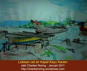 Lukisan Cat Air Kapal Kayu yang telah karam di Teluk Dorey, Kota Manokwari di Papua Barat