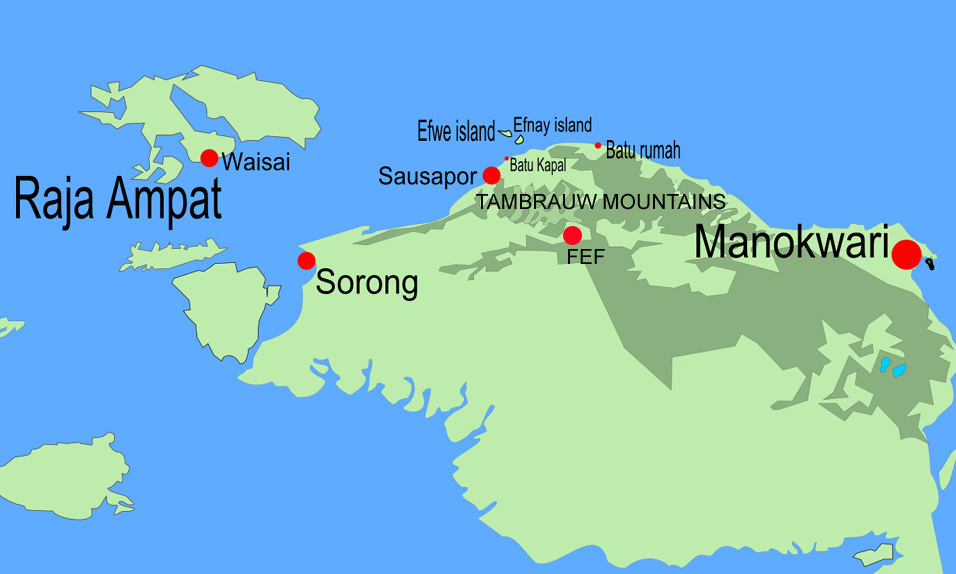 Tambrauw mountains are located between Sorong and Manokwari. The capital of the regency is Fef.